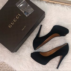 Gucci Black suede peep toe heels